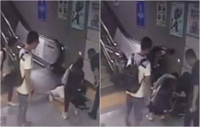 """VIDEO / Imagini dramatice! O femeie a fost """"aspirată"""" de motorul unor scări rulante. A fost tăiată din cap până în picioare"""