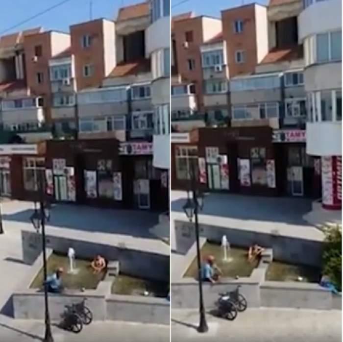 VIDEO / S-a dezbrăcat şi a intrat gol puşcă într-o fântână  din centrul Buzăului!