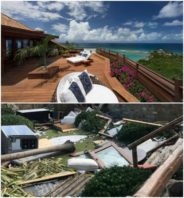 IMAGINI HORROR! Vila de MILIOANE DE DOLARI a magnatului Richard Branson, DEVASTATĂ de uraganul Irma