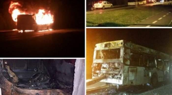 VIDEO / Clipe infernale! Un autobuz plin cu oameni a luat foc în mers