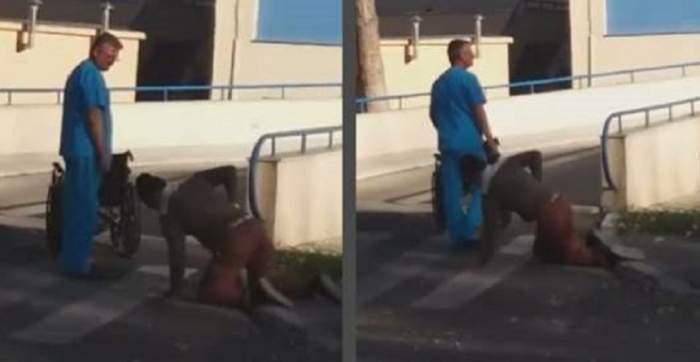 VIDEO / Caz şocant în Călăraşi! Se târăşte în genunchi, în faţa spitalului! Motivul halucinant a stârnit reacţii acide
