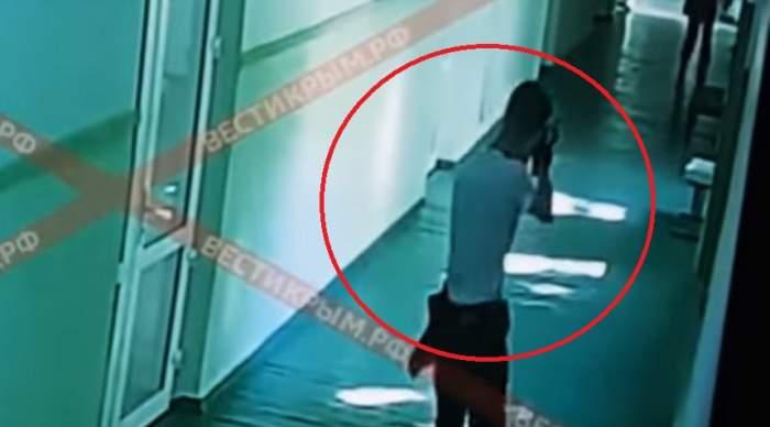 VIDEO ȘOCANT / Filmarea cu masacrul din Crimeea a fost făcuta publică. Atacatorul a împușcat oameni pe holurile liceului