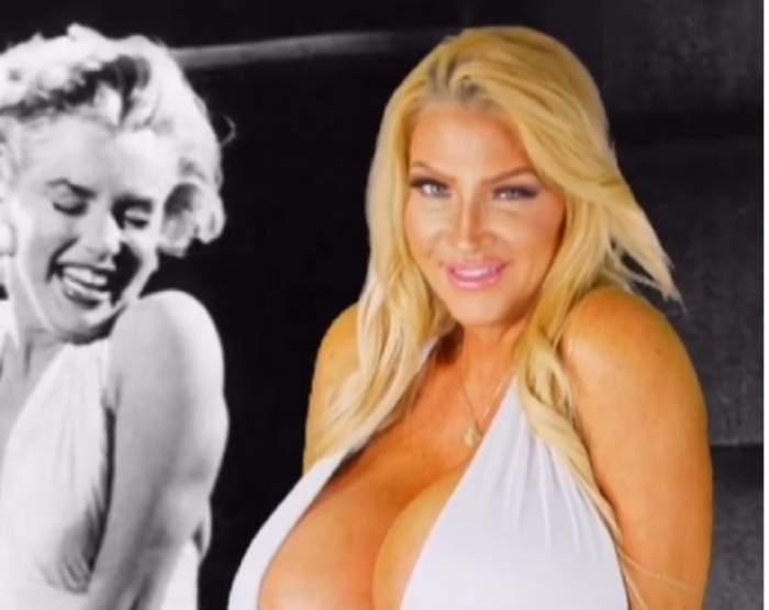 VIDEO / A vrut să fie ca Marilyn Monroe, dar a eșuat lamentabil! Femeia cu cele mai mari silicoane din lume i-a oripilat pe toți