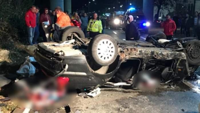 FOTO / Accident cumplit, în Arad! Doi tineri au murit după ce au sărit cu maşina de pe un pod!