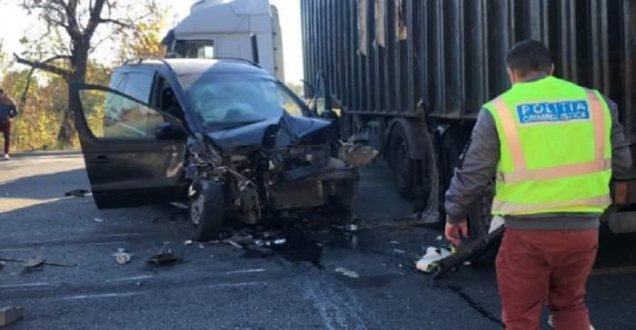 Un tir și un autoturism s-au făcut praf pe o șosea din Ilfov! Sunt șase victime