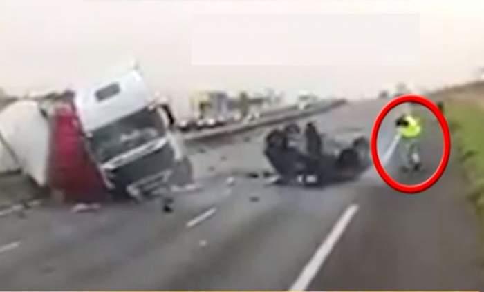 VIDEO / Un român, eroul zilei în Franţa! Petrică a reuşit să scoată o mamă şi doi copii dintre fiarele unei maşini distruse într-un accident!