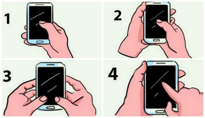TEST: Tu cum ții telefonul în mână? Răspunsul dezvăluie lucruri incredibile despre tine