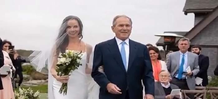 FOTO / Fiica lui George W. Bush s-a căsătorit! Ce accesoriu a ales să poarte în memoria bunicii