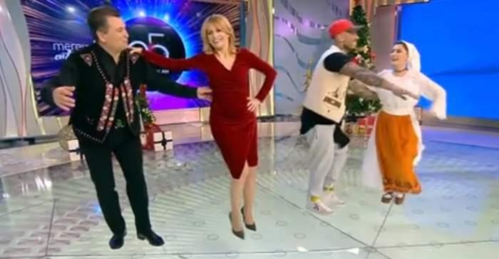 """VIDEO / Graviduța Simona Gherghe, show pe ritmuri de muzică populară la """"Acces Direct""""! Nea Mărin a luat-o la dans"""