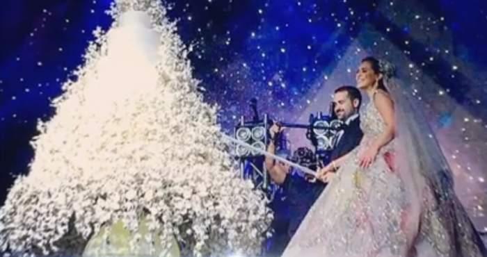 VIDEO / Nuntă ca în povești, în Liban. Mirii au uimit toți invitații cu ținute luxoase și restaurant de 7 stele!