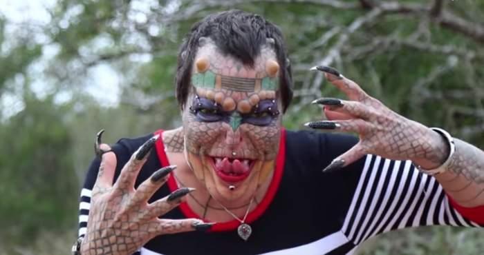 FOTO & VIDEO / Transformare şocantă pentru transsexualul Eva! A cheltuit 42.000 de lire pentru a deveni un dragon