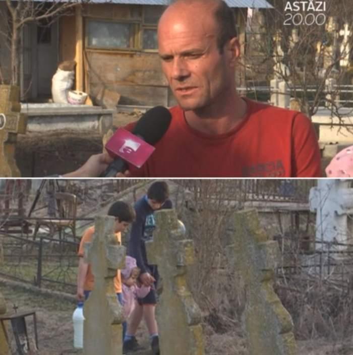 VIDEO / Fără copilărie! Trei micuţi trăiesc în cimitir, crescuţi de un tată bolnav. Mama i-a abandonat şi doarme în braţele amantului