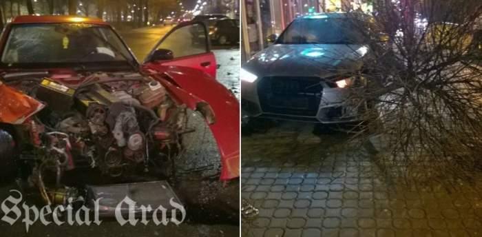FOTO / Accidente în lanţ noaptea trecută în Arad! Două maşini s-au făcut praf
