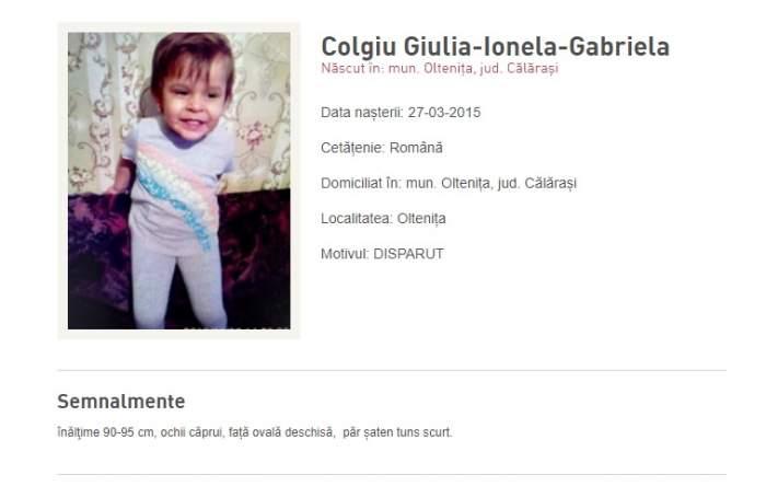 UPDATE / Fetița de 3 ani din Oltenița dată dispărută a fost găsită moartă
