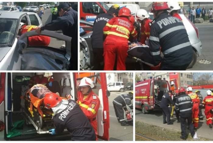 FOTO / Accident teribil în care a fost implicată o şoferiţă gravidă. Descarcerarea a scos-o din mormanul de fiare