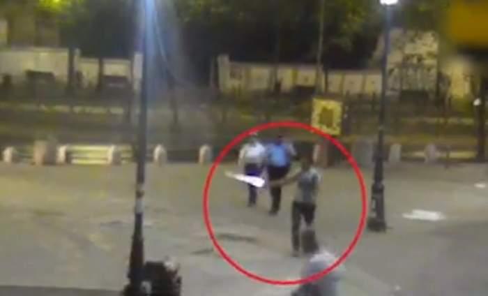 VIDEO / Scene de groază în Centrul Vechi al Capitalei! Motivul uluitor pentru care un bărbat a ieșit la plimbare cu o sabie
