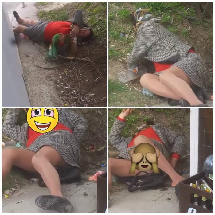 """VIDEO / Tragicomedie în Vaslui. O femeie ruptă de beată a """"topit"""" o sticlă de vin imediat. Imaginile au ajuns virale"""