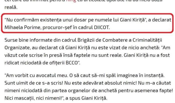 EXCLUSIV / Câtă cocaină au găsit polițiștii la Giani Kiriță! Document exploziv