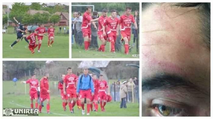 Scene de groază în fotbalul românesc! Un arbitru a fost bătut crunt pe teren
