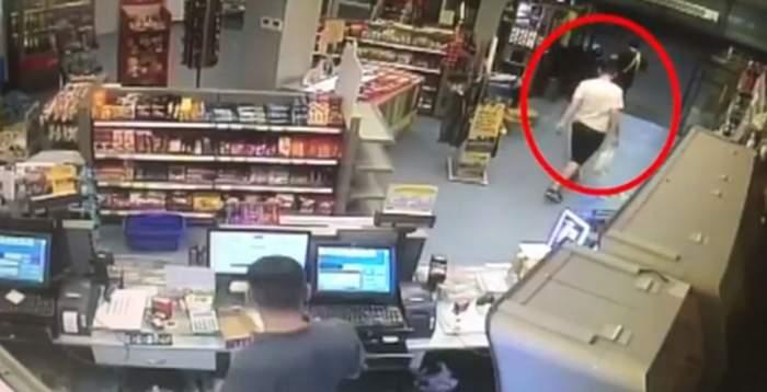 VIDEO / Atac într-o benzinărie din Giurgiu. Un bărbat băut a furat o maşină