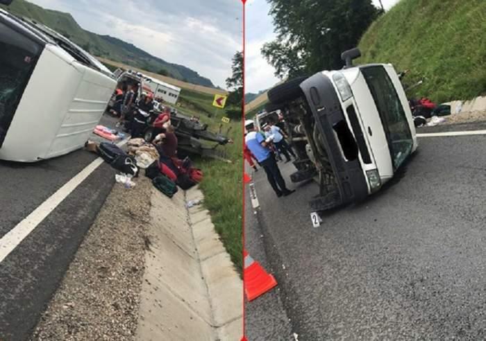 FOTO / Accident grav în Sibiu! Un microbuz s-a răsturnat din cauza vitezei