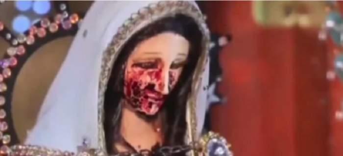 VIDEO / Te vei cutremura! Statuia Fecioarei Maria a plâns cu lacrimi de sânge