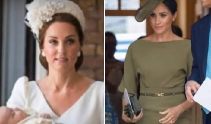 FOTO / Kate Middleton VS Meghan Markle. Semnificația ascunsă a rochiilor purtate de ducese, la botezul Prințului Louis