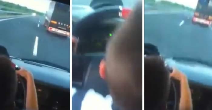 VIDEO / Aşa arată inconştienţa! Copil de nici 7 ani, lăsat singur la volan pe o autostradă de lângă Sibiu