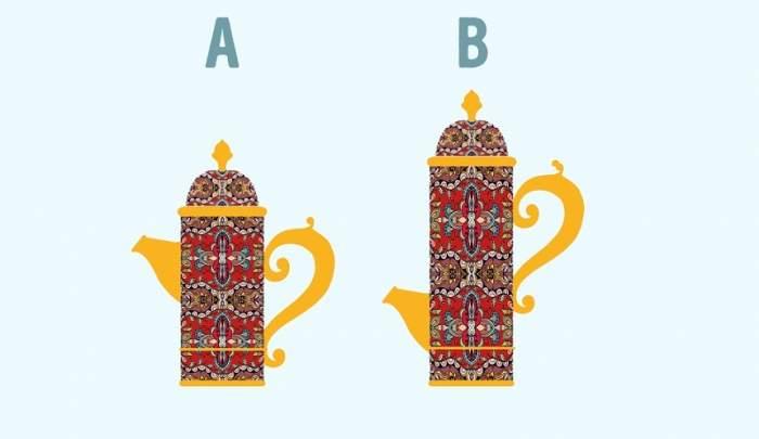 TEST: Dacă în ceainicul A sunt 32 de porţii de ceai, câte porţii conţine ceainicul B?