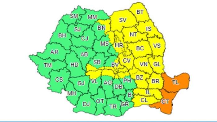 UPDATE: Cod galben şi portocaliu de vreme rea pentru mai multe zone din ţară, valabil azi şi mâine