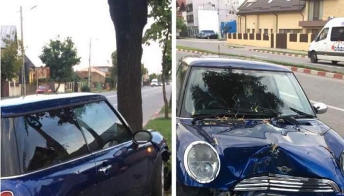 Accident grav în Târgovişte. O tânără beată şi drogată a intrat cu maşina într-un copac