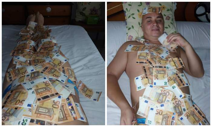 """FOTO / Cristi din Banat s-a pozat gol și acoperit de bani: """"Dacă atâta te duce mintea..."""""""