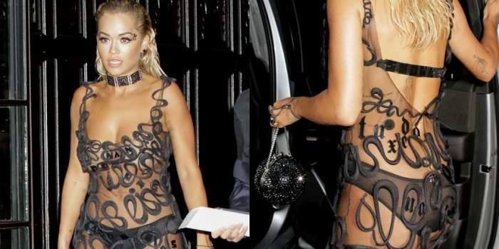 FOTO / Rita Ora, apariţie controversată. Cântăreaţa a părăsit hotelul mai mult dezbrăcată decât îmbrăcată