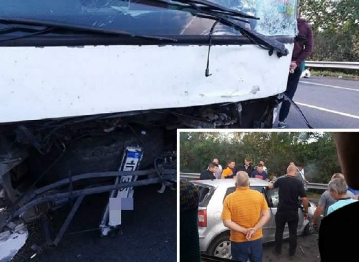 FOTO / Accident foarte grav între un autoturism şi un autocar, pe DN2! O persoană a murit