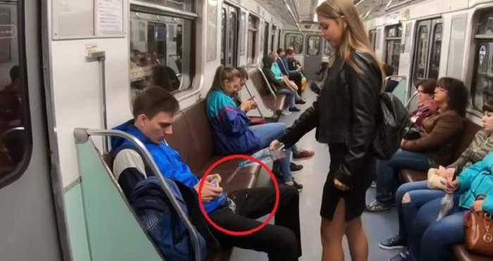 VIDEO / O studentă la Drept a atacat zonele intime ale bărbaţilor la metrou! A folosit 30 litri de înălbitor