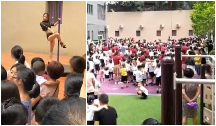 Serbare de început de an școlar cu dansatoare la bară! Părinții și copiii au privit neputincioși show-ul erotic