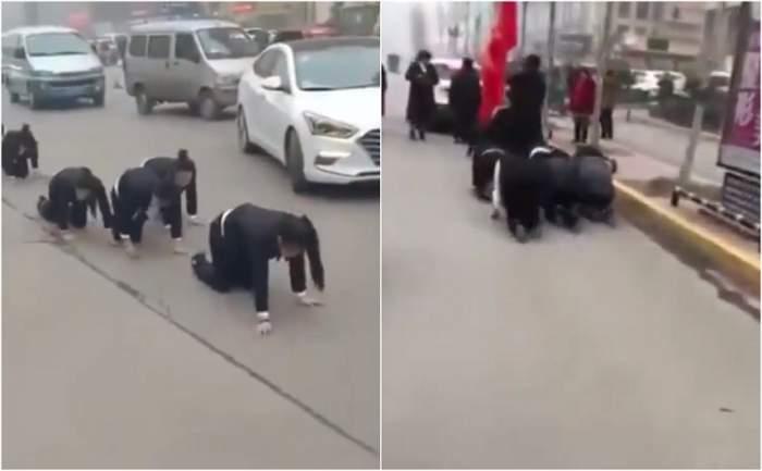 VIDEO / Motivul incredibil pentru care angajații unei companii au fost obligați de șef să meargă în genunchi pe stradă