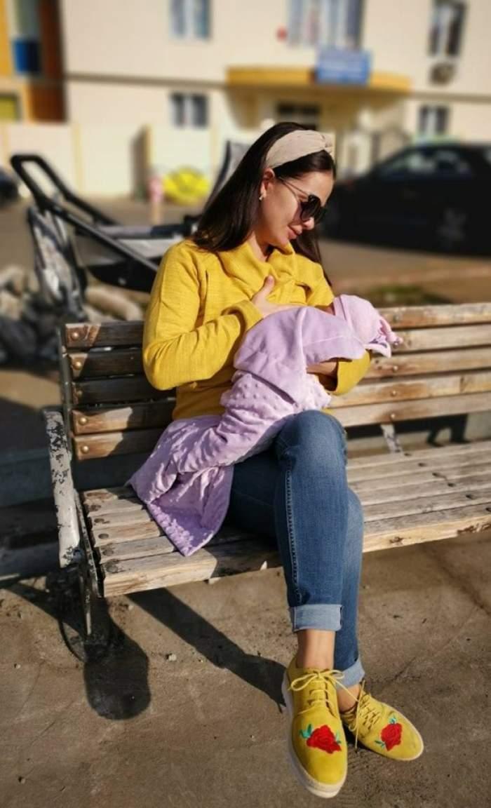 Deea Maxer a alăptat pe o bancă în parc, sub ochii tuturor. Cum a reacționat soțul ei. FOTO