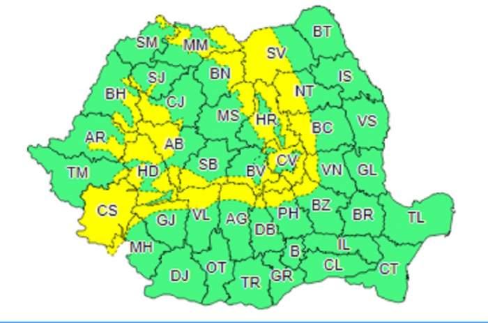 Cod galben de vreme rea! Intensificări ale vântului și ploi în mai multe zone din țară, până joi