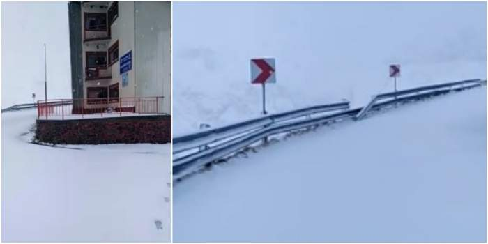 Ninge ca în povești pe Transfăgărășan! Stratul de zăpadă a atins deja 10 centimetri. VIDEO