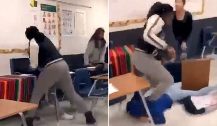 Elevă călcată în picioare de propria profesoară! Imagini şocante