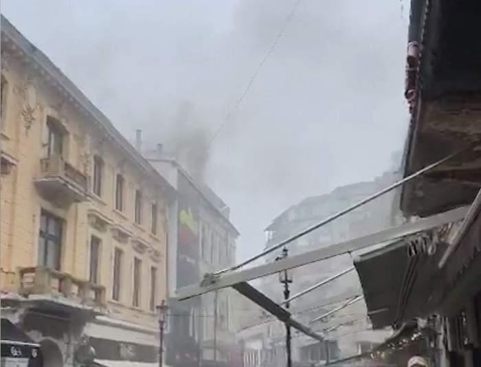 VIDEO/ Incendiu puternic în Centrul Vechi al Capitalei