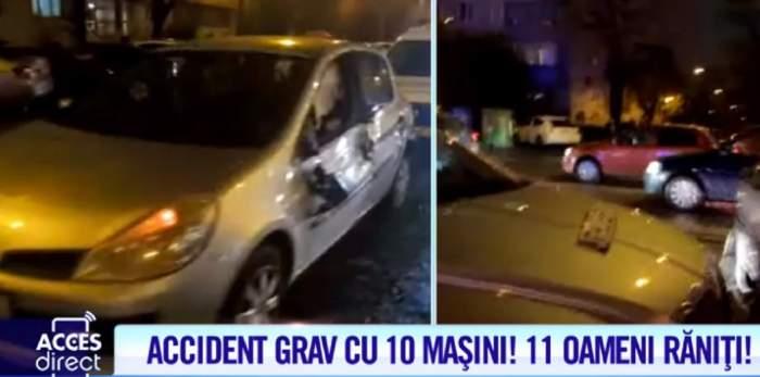 Carambol cu 10 maşini pe Calea Griviţei! 11 oameni au fost răniţi, dintre care doi copii / VIDEO