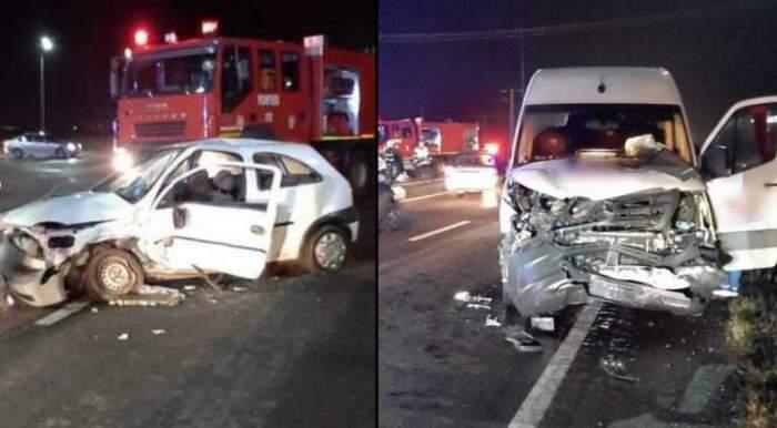 Accident grav pe DN1, cu 5 răniți! O șoferiță a intrat într-un microbuz cu 20 de pasageri