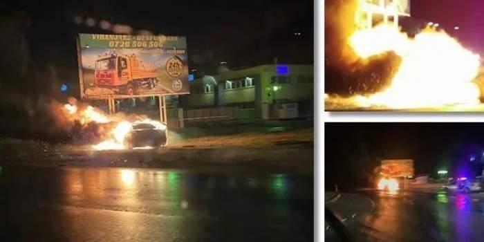 Un șofer a plonjat cu mașina peste un sens giratoriu, la Oradea! Mașina a izbucnit în flăcări. FOTO
