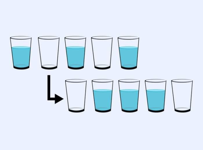 Tu poți rezolva enigma? Mută un singur pahar pentru a ajunge la această ordine