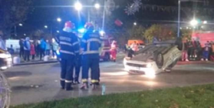 Mașină de poliție, răsturnată într-un cartier din București! Care este starea răniților. VIDEO
