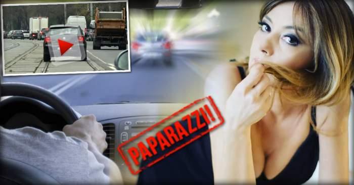 VIDEO PAPARAZZI / Se crede cea mai tare şoferiţă din România! Oana Sîrbu, cursă nebună în Bucureşti