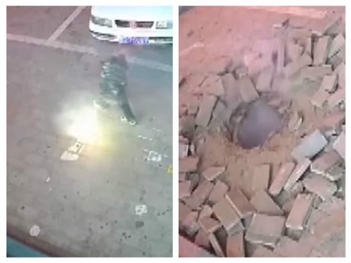 VIDEO / Un copil a aruncat o petardă în canalizare. Este de-a dreptul incredibil ce a urmat
