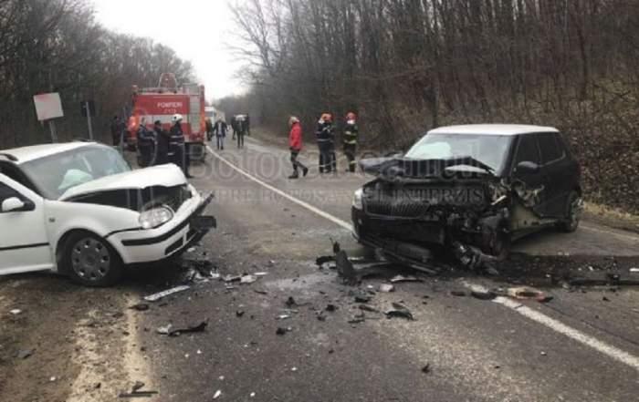 Accident grav în Botoșani! O șoferiță a evitat un câine și s-a izbit violent de altă mașină